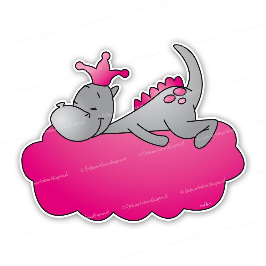 3ab1f723b14 Geboortebord draakje Dirk - roze