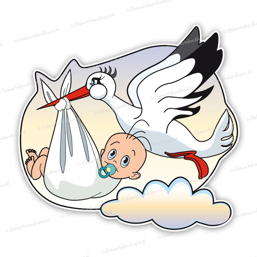 geboortebord een baby gedragen door de ooievaar