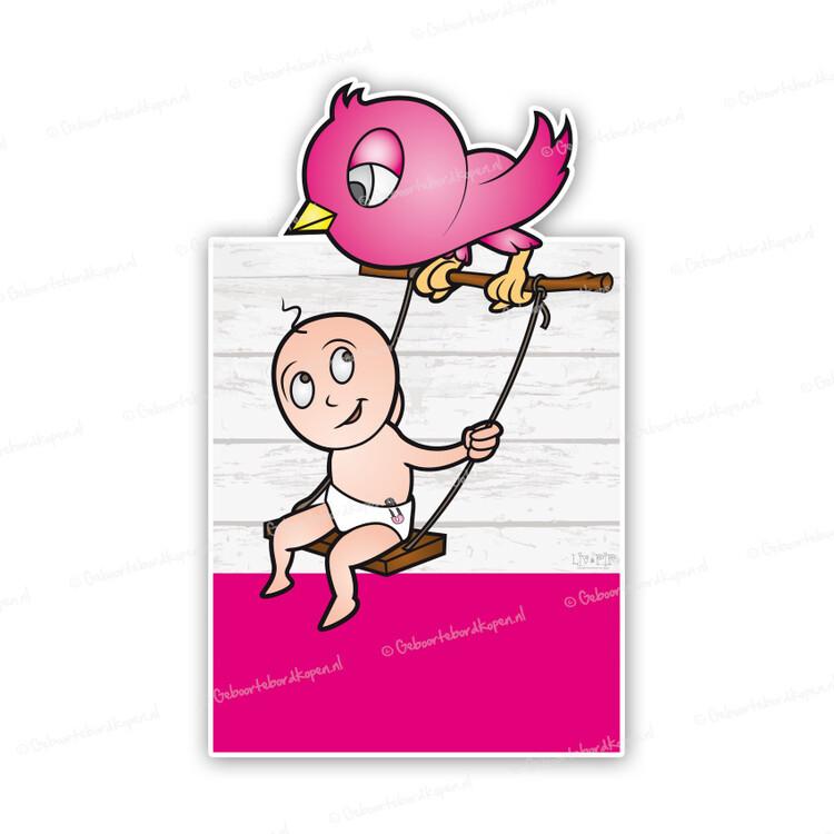 Baby Schommelstoel Roze.Geboortebord Baby Op Schommel Bij Roze Vogel