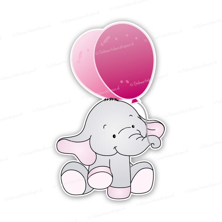 9c4a5a5d605 Geboortebord olifantje met ballonnen roze