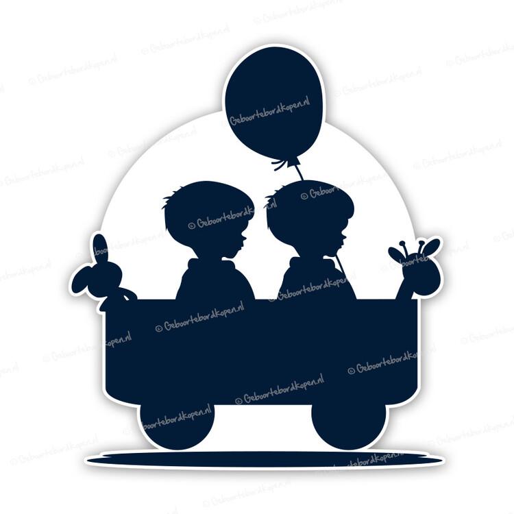 51368c13b4be76 Geboortebord silhouet - tweeling jongens in bolderkar