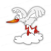 Geboortebord vrijstaand vliegende ooievaar
