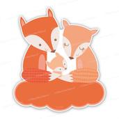 Geboortebord drie vosjes op wolk