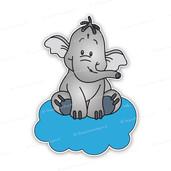 Geboortebord lollifantje op blauwe wolk