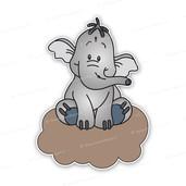 Geboortebord Lollifantje op bruine wolk