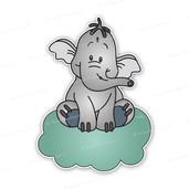 Geboortebord Lollifantje op mintgroen wolkje