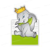 Geboortebord olifantje dombo met kroontje - groen
