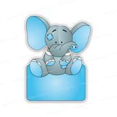 Geboortebord olifantje grijs-blauw