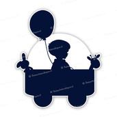 Geboortebord silhouet jongen in bolderkar