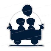 Geboortebord silhouet tweeling jongens in bolderkar