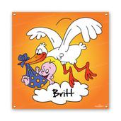 Geboortespandoek vliegende ooievaar spandoek