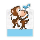 Geboorteborden aapjes met bellenblaas blauw