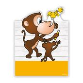 Geboorteborden aapjes met bellenblaas geel