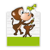 Geboorteborden aapjes met bellenblaas groen
