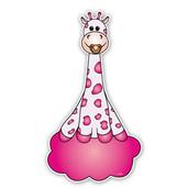 Geboorteborden giraffe op wolkje in roze