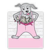 Hond met puppys geboorteborden roze