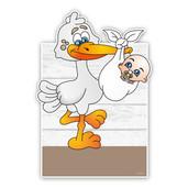 geboorteborden ooievaar draagt baby steigerhout bruin