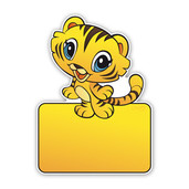 Geboortebordeb geel-bruin katje