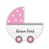 Geboortebord steigerhout kinderwagen baby roze