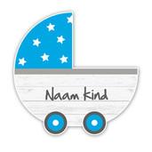 Geboorteborden steigerhout kinderwagen blauw retro