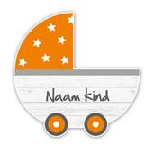 Geboorteborden steigerhout kinderwagen oranje retro