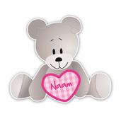 Geboorteborden van knuffelbeertje met roze hartje