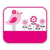 Geboorteborden vogeltje met bloemen roze