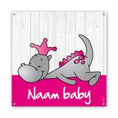 Geboortespandoeken draakje dirk roze vierkant