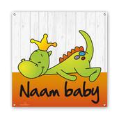 Geboortespandoek draakje dirk oranje vierkant