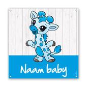 Geboorte spandoeken baby giraffe blauw