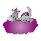 Geboorteborden draakje dirk - paars