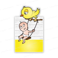 Geboortebord baby op schommel bij gele vogel