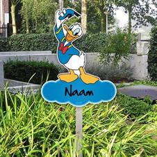 Geboortebord Donald Duck in tuin