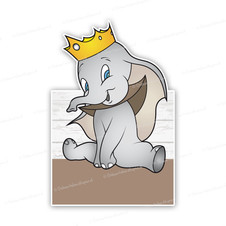 Geboortebord Dombo met kroon bruin