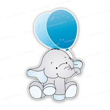 Geboortebord olifantje met ballonnen blauw