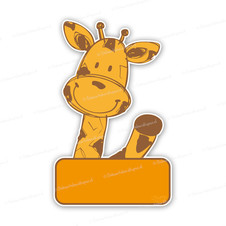 Geboortebord zwaaiende giraffe geel