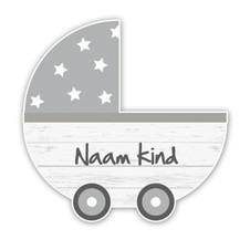 Geboortebord steigerhout kinderwagen grijs retro