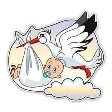 Geboortebord baby gedragen door ooievaar
