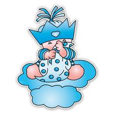 Blauw geboortebord Beertje Bobbi met zakdoek en kroontje
