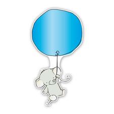 geboorteborden olifantjes ballon blauw