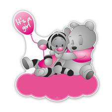 Geboorteborden poeh en teigetje met ballon in roze kleuren