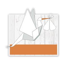 Geboorteborden ooievaars van origami oranje