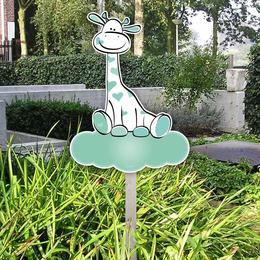 Geboortebord tuin giraffe op wolkje mintgroen
