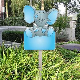 Geboortebord grijs-blauw olifantje voor in de tuin