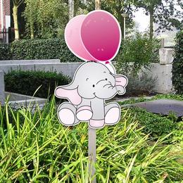 Geboortebord tuin olifantje met roze ballon