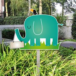 Tuin Geboortebord olifant met vogel
