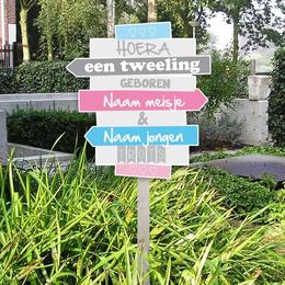 Geboortebord wegwijzerbordjes tweeling meisje en jongen voor in de tuin