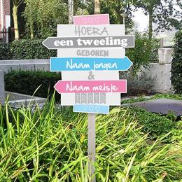 Tuin geboortebord wegwijzerbordjes voor tweeling jongen en meisje