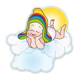 geboorteborden baby met regenboogmuts in de wolken