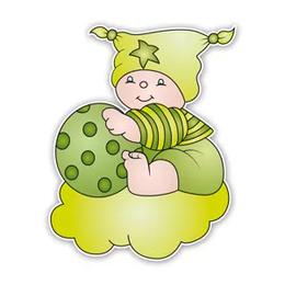 Geboorteborden beertje bobbi met bal groen
